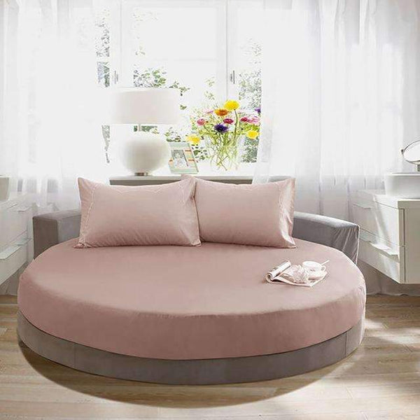 PinKart-USA Online Shopping brown / 200cm 100% Pure Cotton Solid Color Bed Sheet Round Fitted Sheet Europe Style Soft Sheet Multicolor Bed