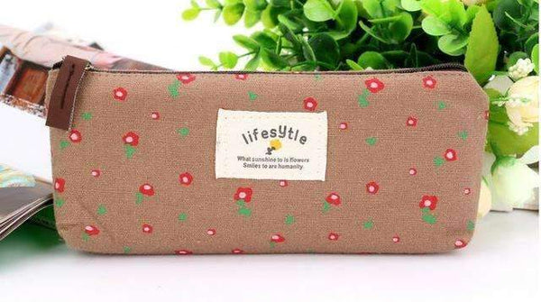 PinKart-USA Online Shopping Brown Cactus Pencil Case Canvas School Supplies Kawaii Stationery Estuches Chancery School Cute Kalem
