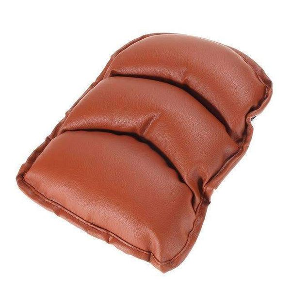 PinKart-USA Online Shopping Brown Car Soft Leather Central Armrest Console Box Pad Cover Cushion Support Box Arm Rest Seat Box Paddin