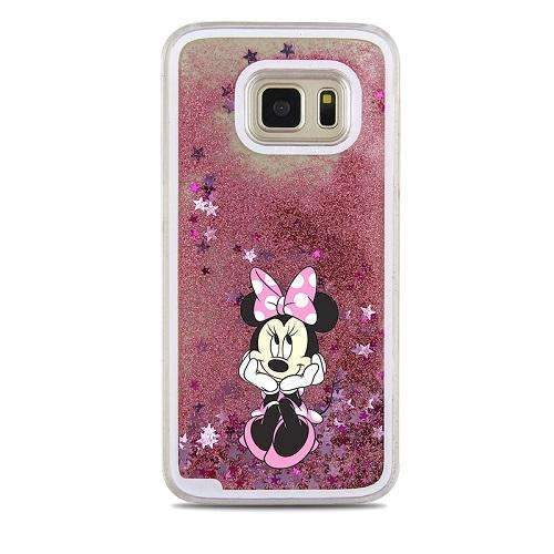 PinKart-USA Online Shopping Brown For Samsung Galaxy S7 Case Cute Stitch Mickey Shining Liquid Quicksand Mobile Phone Case Cover