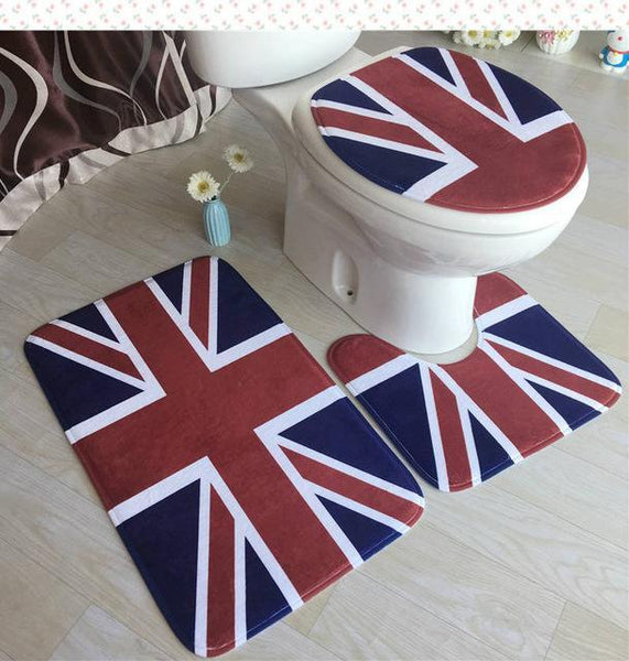PINkart-USA Online Shopping Brown High Grade Carpet Flannel Three Pieces Of Toilet Cover Bathroom Non-Slip Mat Soft Household