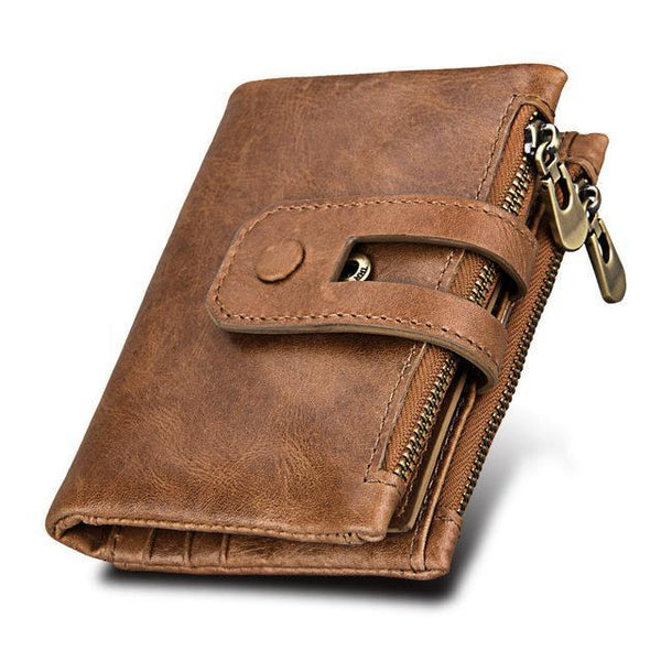 PINkart-USA Online Shopping Brown Hot!! Genuine Leather Men Wallet Small Men Wallets Double Zipper&Hasp Male Portomonee Short Coin