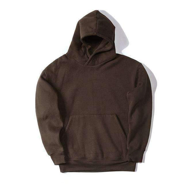 PinKart-USA Online Shopping Brown / L Man Si Tun Streetwear Pullovers Drake Kanye West Plain Fleece Oversized Hoodie Kpop Clothes