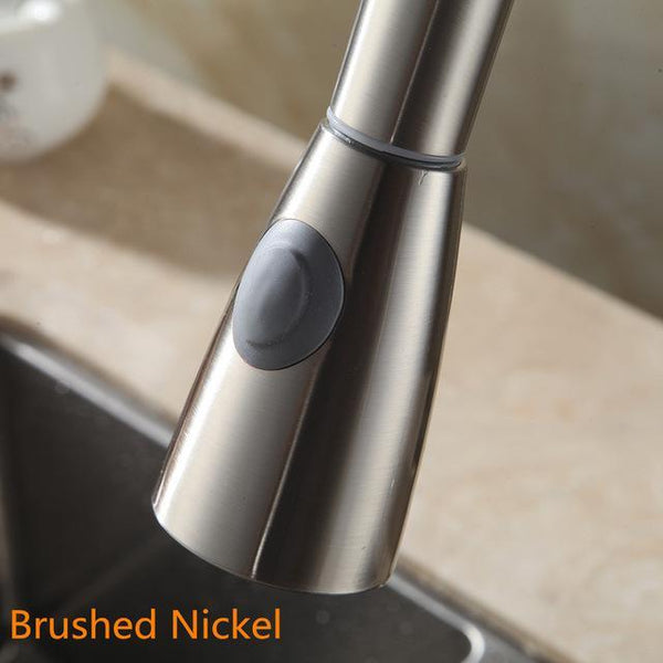 PINkart-USA Online Shopping Brush Nickel Kitchen Faucet Accessories Abs Brushed Nickel Chrome Silver Sink Kitchen Pull Down Faucet Dual