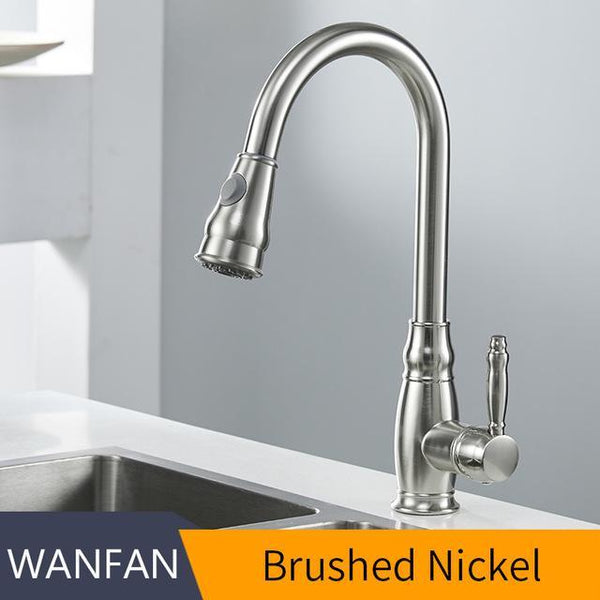PINkart-USA Online Shopping Brushed Nickel / Brazil Kithchen Faucets Luxury Pull Out Kitchen Sink Faucet Brass Swivel Spray Kitchen Tap Single Hole