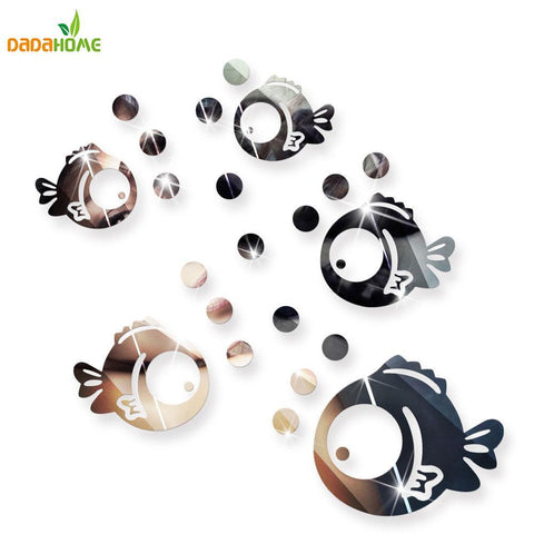 PINkart-USA Online Shopping Bubble Fish Bathroom Mirrored Decorative Sticker Wall Art Mirror Decorative Wall Sticker