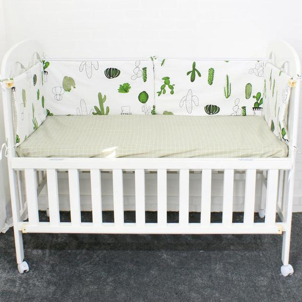 PINkart-USA Online Shopping Cactus 2 Pcs Baby Bed Bumper Soft Breathable Cartoon Pattern Baby Crib Protector For Children Croth To The Cot