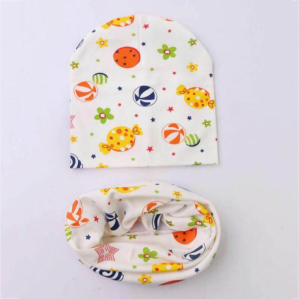PINkart-USA Online Shopping candy 1 Set Cotton Baby Hat Scarf Solid Color Children Caps Scarves Autumn Winter Kids Boys Girls O Ring