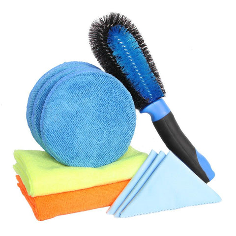 PINkart-USA Online Shopping Car Cleaning Kit 2Pcs Microfiber Towel Car Cleaning Cloth 1Pc Wheel Brush 3Pcs Applicator Pads 3Pcs