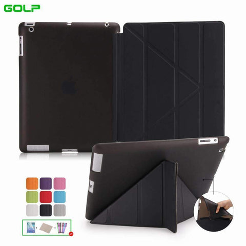 PinKart-USA Online Shopping Case Covers For Ipad 2 3 4 Golp Utra Slim Pu Leather Multi-Folding Magentic Cover Translucent Tpu
