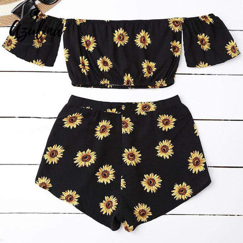 PINkart-USA Online Shopping Casual 2 Two Piece Set Women Sunflower Print Summer Off The Shoulder Crop Top Shorts Zipper
