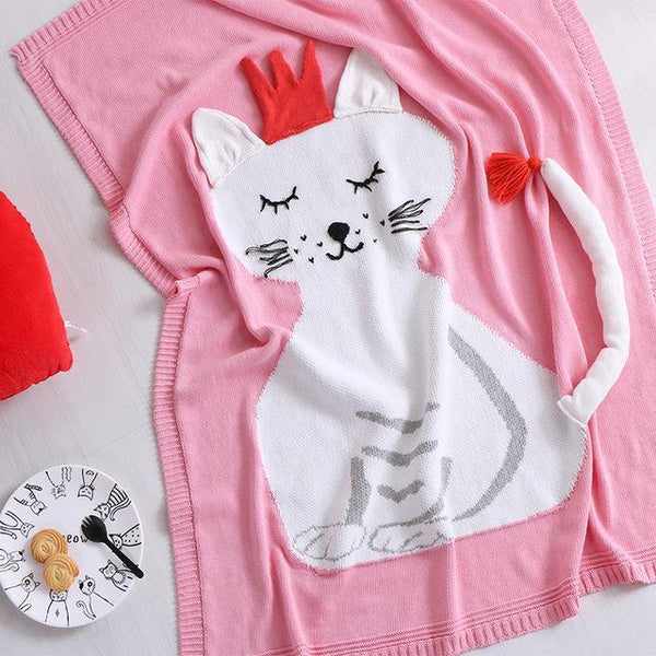 PINkart-USA Online Shopping cat / 90x110cm Cute 100% Cotton Blankets For Kid Children 90X110Cm Red Fox Cat Wing Style Knitted Air Conditioner