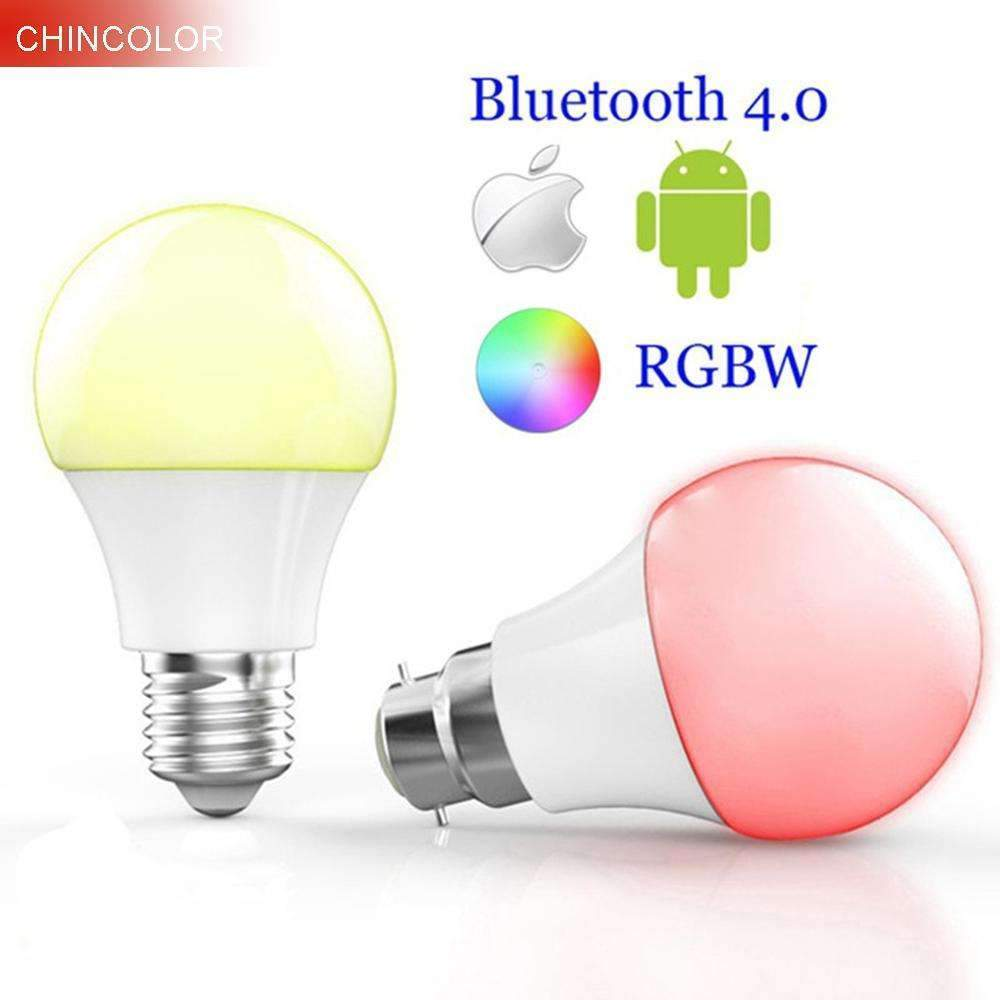 PinKart-USA Online Shopping Changeable / B22 Bulb Smart Bluetooth 4.0 Led Bulbs Multi Color E27 Or B22 Base 4.5W Rgbw Dimmable Intelligent Lighting