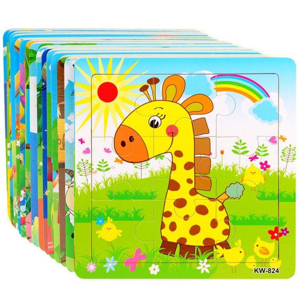 PINkart-USA Online Shopping Children Kids Cute Wooden Jigsaw Learning Education Cartoon Animal Puzzle Developmental Baby