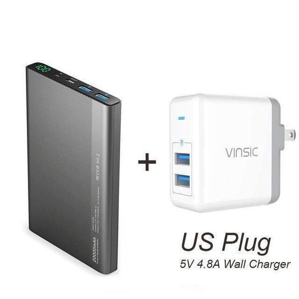 PinKart-USA Online Shopping China / PB 5V 48A US Plug Vinsic 20000Mah Power Bank Dual 2.4A Usb Type-C Led Dispaly Portable External Battery Charger For