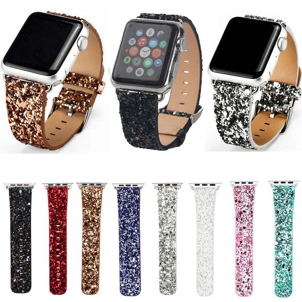 PINkart-USA Online Shopping China / Pink / For Apple Watch 42mm Christmas Shiny Glitter Power Leather Bling Luxury Iwatch Band Wristwatch Bracelet Strap For