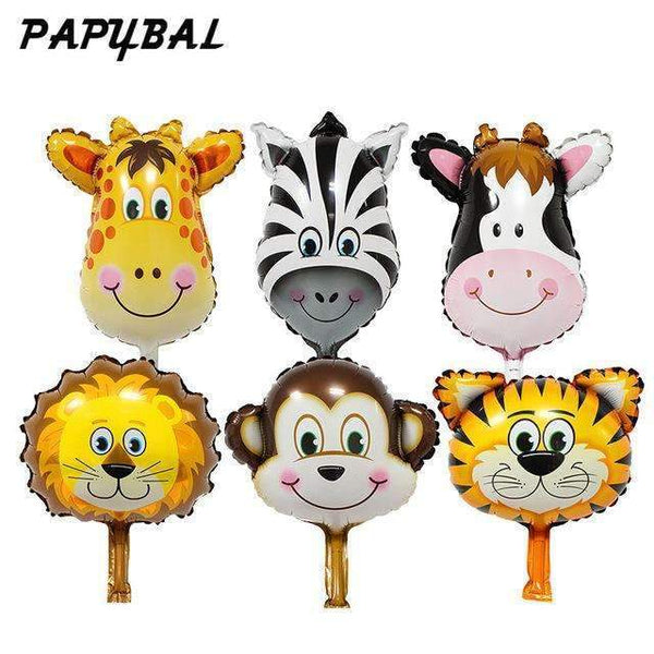 PinKart-USA Online Shopping Chocolate / Mnini Size 50Pcs Safari Animal Balloons Birthday Party Decoration Lion & Monkey & Zebra & Cow Head Safari Zoo