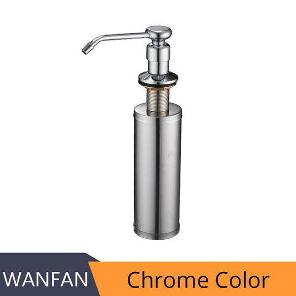 PINkart-USA Online Shopping Chrome Color Pump Deck Mounted Kitchen Soap Dispensers Round Pump Brushed Nickel Soap Dispensers For Kitchen Built