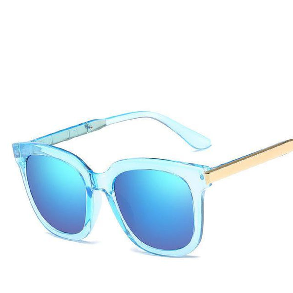 PINkart-USA Online Shopping Clear Blue Trendy Vintage Sunglasses Women Men Uv400 Black Mirror Coating Sun Glasses Retro Hipster Goggles