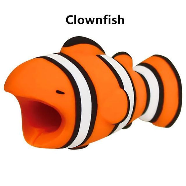 PINkart-USA Online Shopping Clownfish Cute Animal Doll Cable Bite Protector For Iphone Usb Cable Organizer Winder Chompers Chager Wire Holder For Iphone Cable