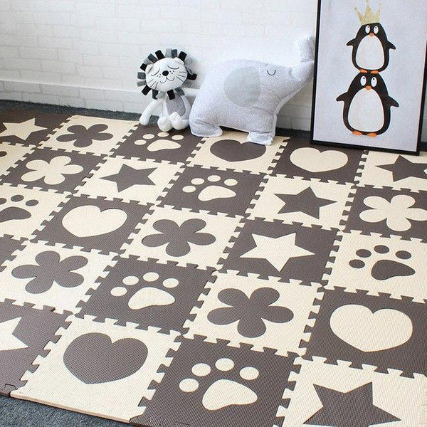PINkart-USA Online Shopping Coffee 10Pcs Baby Play Mat In Nursery Eva Foam Childrens Carpet With Border Puzzle Mat For Borns