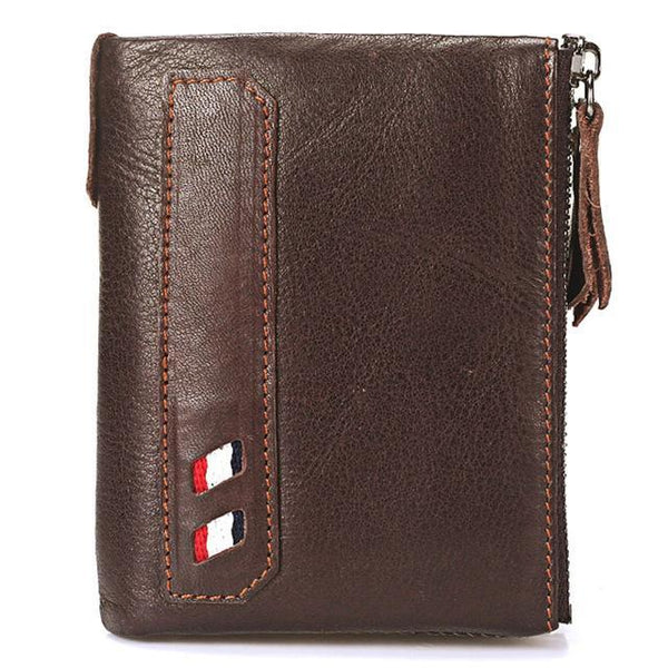 PINkart-USA Online Shopping Coffee Vintage Genuine Cow Leather Men Wallet Coin Purse Wallets With Coin Pocket Dual Zipper Short Small