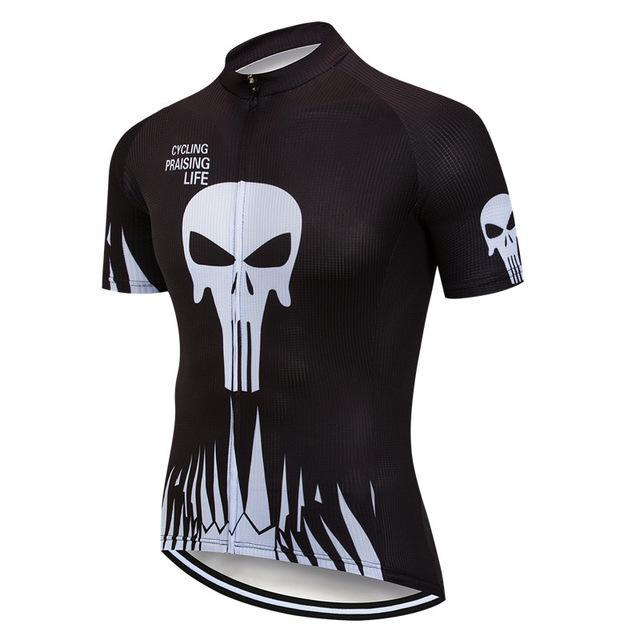 PINkart-USA Online Shopping Color 1 / L Skull Cycling Jersey Shirt Black Men Cycling Clothing Summer Short Sleeve Mtb Bike Jersey