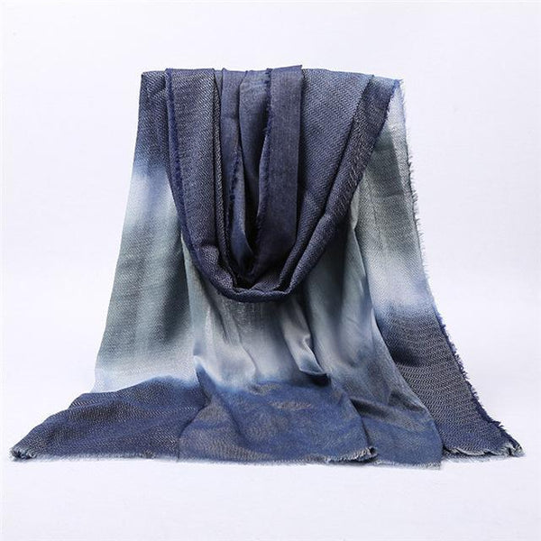 PINkart-USA Online Shopping color 2 navy Japanese Unisex Style Winter Scarf Long Women'S Scarves Cotton Denim Blue Gradien Color Shawl