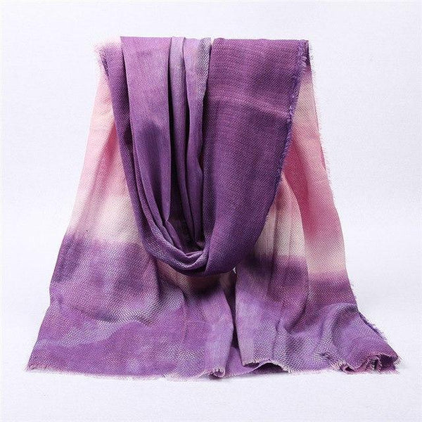 PINkart-USA Online Shopping color 6 purple Japanese Unisex Style Winter Scarf Long Women'S Scarves Cotton Denim Blue Gradien Color Shawl