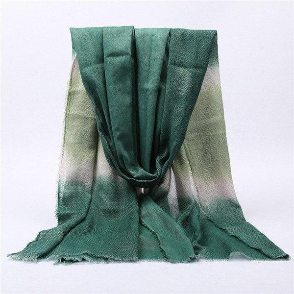 PINkart-USA Online Shopping color 7 green Japanese Unisex Style Winter Scarf Long Women'S Scarves Cotton Denim Blue Gradien Color Shawl