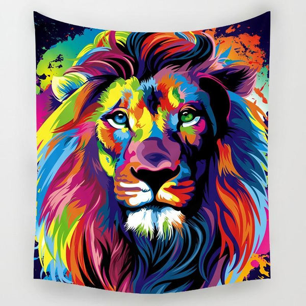 PINkart-USA Online Shopping Comwarm African Animals Pattern Colored Lion Howling Wolf Polyster Tapestry Wall Hanging Beach