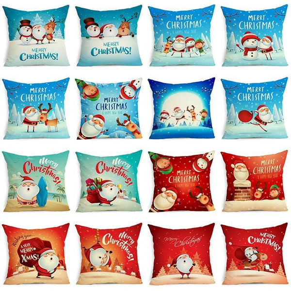 PINkart-USA Online Shopping Comwarm Square Home Decor Xmas Cushion Cover Cotton Linen Merry Christmas Pillowcase Santa Claus
