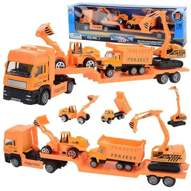 PINkart-USA Online Shopping Construction vehicle 4Pcs/Set Big Size Alloy Helicopter Aircraft Engineering Car Tractor Toy Dump Truck Model Classic