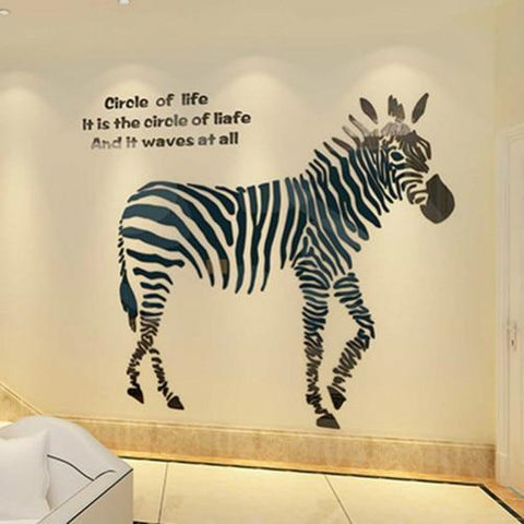 PINkart-USA Online Shopping Creative Animal 3D Acrylic Background Zebra Wall Stickers Living Room Bedroom Kids Gift Holiday