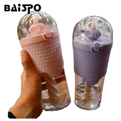 Creative Water Bottle Protein Shaker Bottle Sports Fitness Portable Single Layer Plastic Mixing