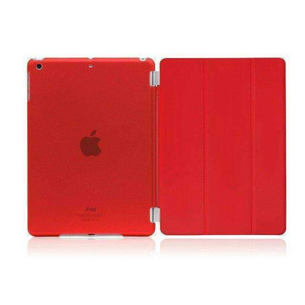 PinKart-USA Online Shopping crystal red For Apple Ipad Air Case Pu Leather Magnetic Front Smart Cover+Clear Hard Back Case For Ipad Air 1