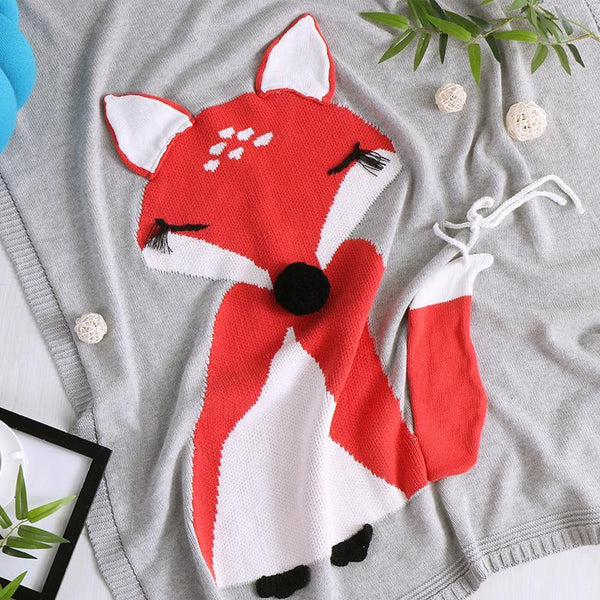 PINkart-USA Online Shopping Cute 100% Cotton Blankets For Kid Children 90X110Cm Red Fox Cat Wing Style Knitted Air Conditioner