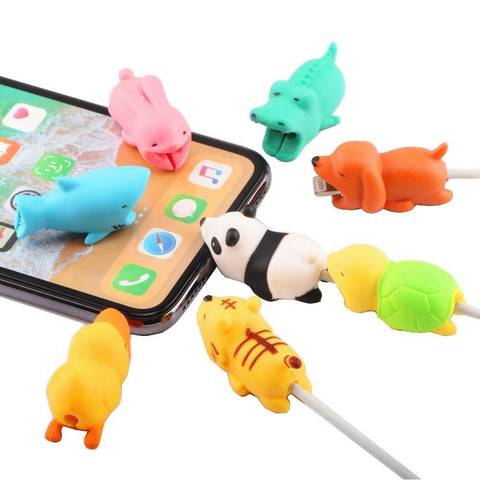 PINkart-USA Online Shopping Cute Animal Doll Cable Bite Protector For Iphone Usb Cable Organizer Winder Chompers Chager Wire Holder For Iphone Cable