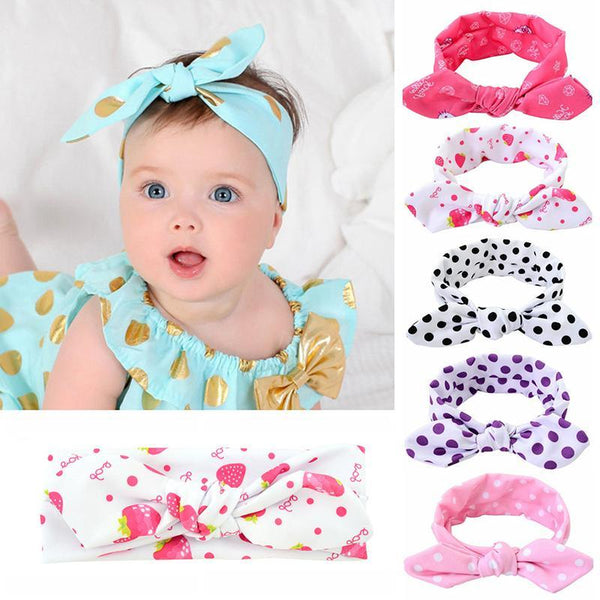 PINkart-USA Online Shopping Cute Dot Print Baby Headband Turban Rabbit Ears Girl Hairband Bow Knot Hair Bands For Baby Girl