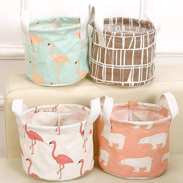 PinKart-USA Online Shopping Cute Printing Cotton Linen Desktop Round Storage Organizer Sundries Box Cabinet Underwear Jewelry
