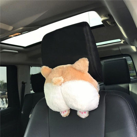 PINkart-USA Online Shopping Cute Puppy Corgi Bottom Car Seat Neck Pillow Soft Auto Vechicle Dog Buttocks Headrest Cushion Plush