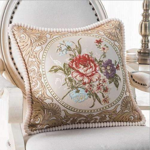 PinKart-USA Online Shopping D / 45x45m only cover Luxurious Embroidery Velour Home Decor Cushion Decoration Lace Pillow / European Velvet Sofa
