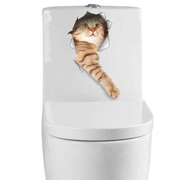 PinKart-USA Online Shopping D Cat Vivid 3D Look Hole Wall Sticker Bathroom Toilet Decorations Kids Gift Kitchen Cute Home Decor