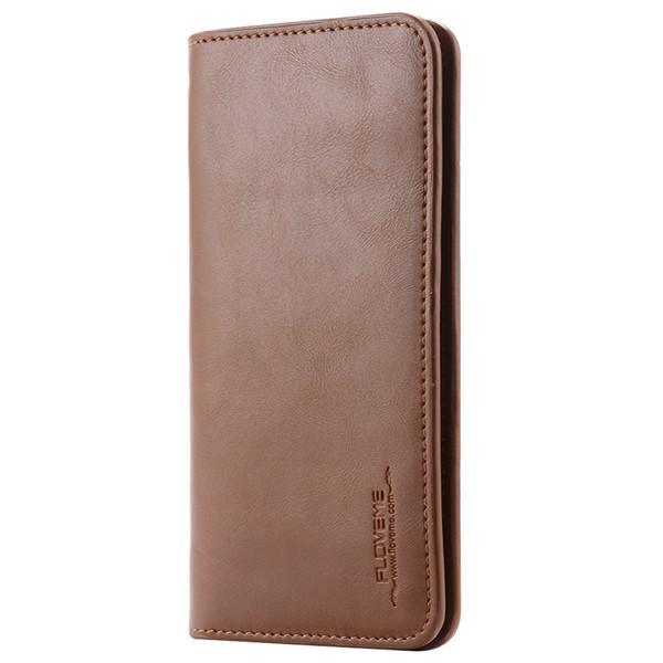PinKart-USA Online Shopping Dark Brown Pu Leather Wallet Purse Universal Case For Iphone 7 6 6S Plus 8 8S With Card Slot Full Protective