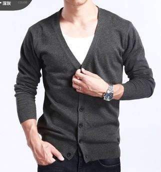 PinKart-USA Online Shopping dark gray / M Spring And Autumn Multi-Colored V-Neck Solid Color Sweater Outerwear Male Cashmere Cardigan