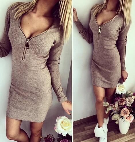 PINkart-USA Online Shopping Dark Gray / S Autumn Winter Women Mini Dresses Stretch Zipper Bodycon Dress Long Sleeve V-Neck Knit Dress Party