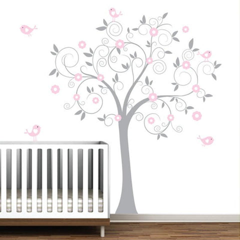 "PinKart-USA Online Shopping Dark grey with pink Pink Flower Tree With Birds, Big Size 137 X180 Cm(71""X54"") Wall Stickers For Kids"