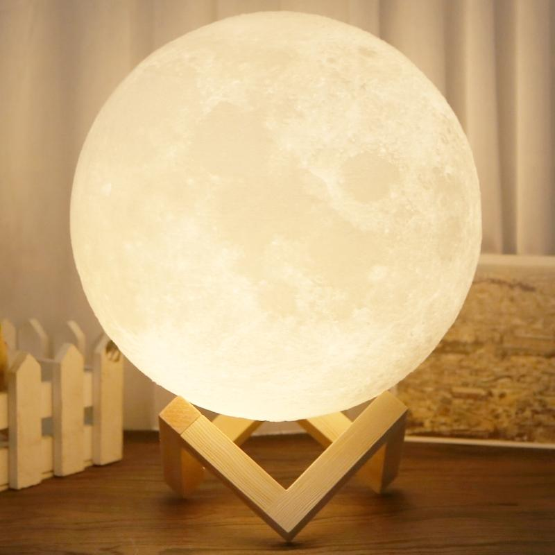 PINkart-USA Online Shopping Default Title 2 Color Change Touch Switch Rechargeable 3D Lights Print Moon Lamp Bedroom Bookcase Usb Led Night