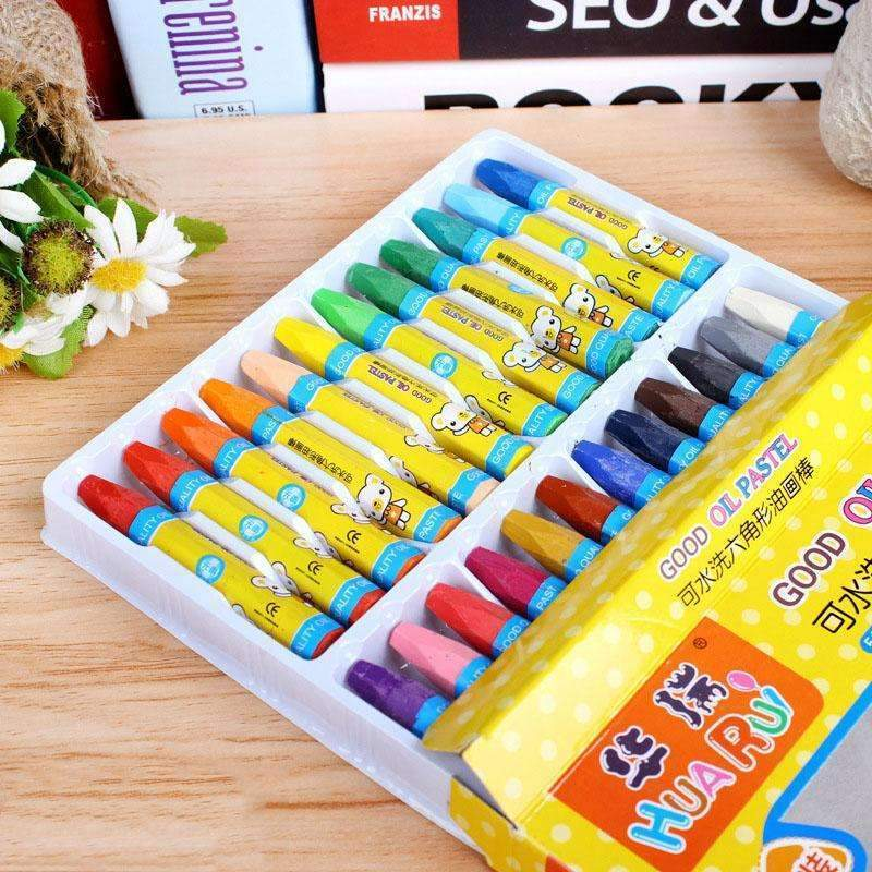 PinKart-USA Online Shopping Default Title 24 Colors Wax Crayon Can Be Washed Oil Painting Stick Eraseable Plastic Crayon Painting For Childre