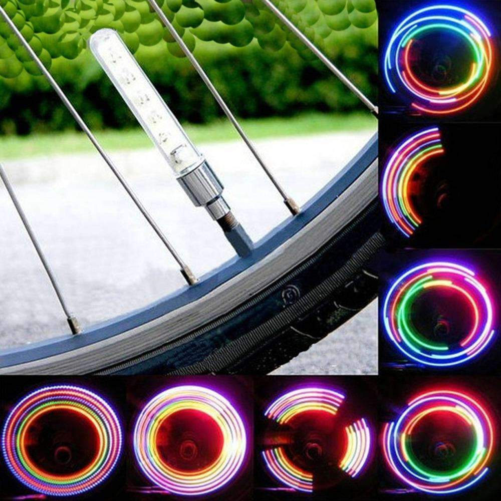 PinKart-USA Online Shopping Default Title 2Pcs 5 Led Bike Bicycle Wheel Tire Valve Cap Spoke Neon Light Lamp Accessories 5 Led Flash Light